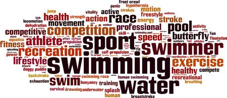 Zwemmen woord wolk concept. Vector illustratie