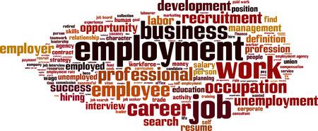 Employment word cloud concept. Vector illustration Stock Illustratie