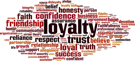 reliance: Loyalty word cloud concept. Vector illustration Illustration