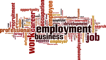 Employment word cloud concept. Vector illustration Stock Illustratie