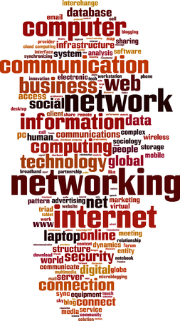 microblogging: Networking word cloud concept. Vector illustration Illustration