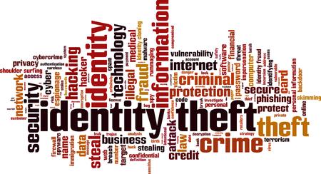 identity theft: Identity theft word cloud concept. Vector illustration Illustration