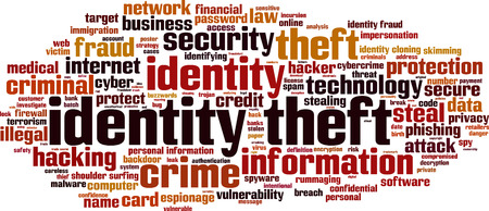 Identity theft word cloud concept. Vector illustration Stock Illustratie
