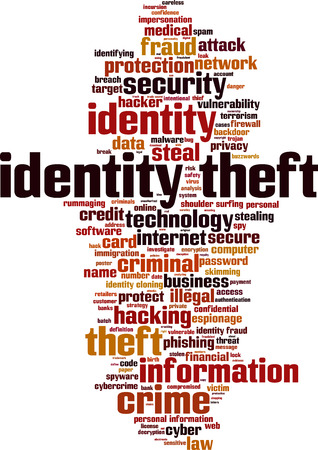 Identity theft word cloud concept. Vector illustration Çizim