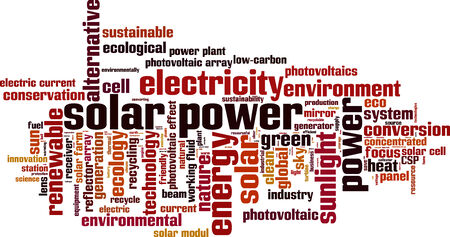 photovoltaics: Solar power word cloud concept. Vector illustration Illustration