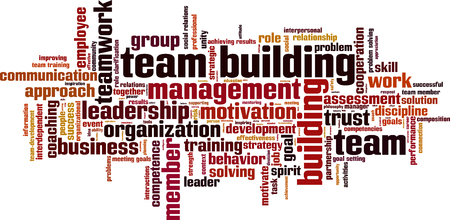 interpersonal: Team building power word cloud concept. Vector illustration