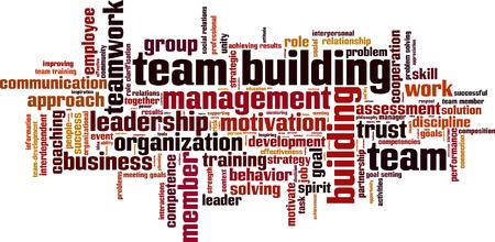 competencies: Team building power word cloud concept. Vector illustration