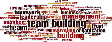 interactions: Team building power word cloud concept. Vector illustration
