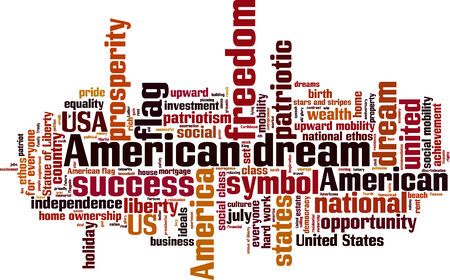 ethos: American dream word cloud concept illustration Illustration