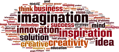 imagining: Imagination word cloud concept illustration Illustration