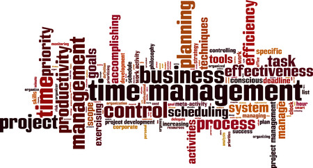 scheduling: Time management word cloud concept illustration