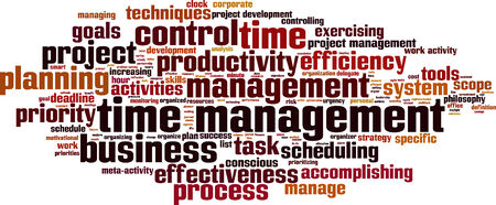 Time management word cloud concept illustration