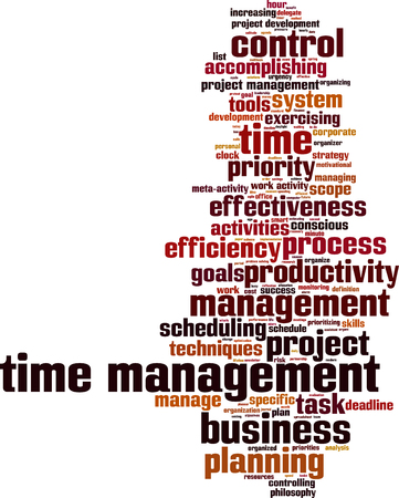 productivity system: Time management word cloud concept. Vector illustration
