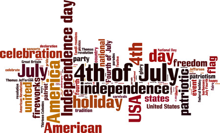 declaration of independence: 4th of July word cloud concept. Vector illustration