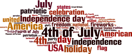 jefferson: 4th of July word cloud concept. Vector illustration
