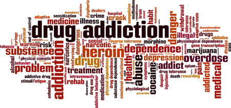 Drug addiction word cloud concept. Vector illustration