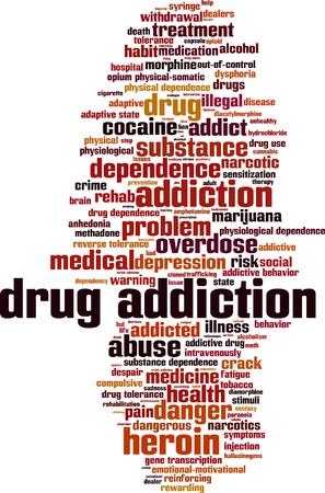 Drugsverslaving woord wolk concept. Vector illustratie
