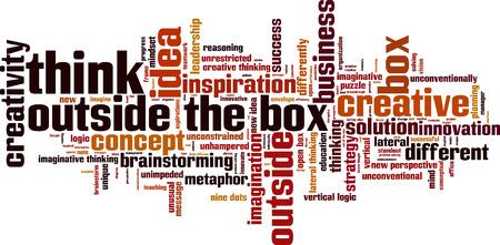 Denk buiten de doos woord wolk concept. Vector illustratie
