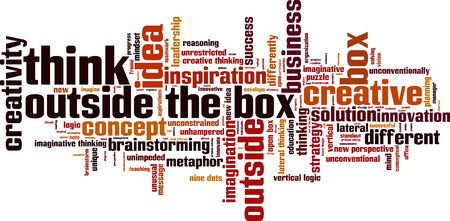 Think outside the box word cloud concept. Vector illustration Çizim