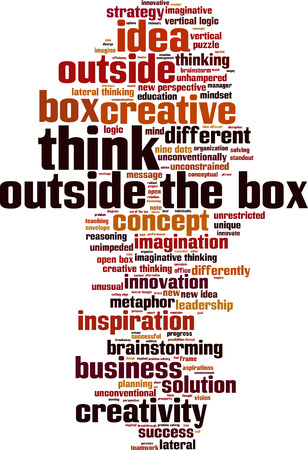 Think outside the box word cloud concept. Vector illustration Ilustrace