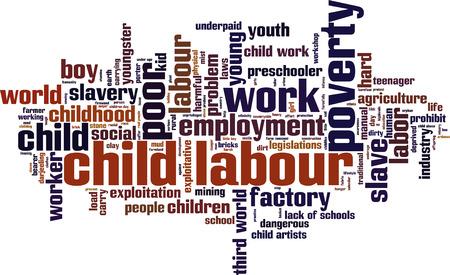 Child labour word cloud concept. Vector illustration