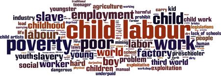 exploitation: Child labour word cloud concept. Vector illustration