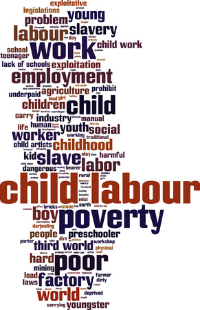 child of school age: Child labour word cloud concept. Vector illustration