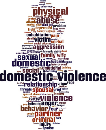Domestic violence word cloud concept. Vector illustration Illustration