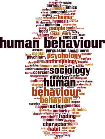 behaviour: Human behaviour word cloud concept. Vector illustration