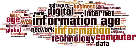 information age: Information age word cloud concept. Vector illustration Illustration