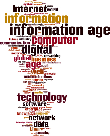 new age: Information age word cloud concept. Vector illustration Illustration