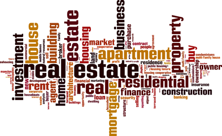 terraced: Real estate word cloud concept. Vector illustration