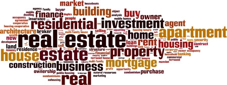 tenure: Real estate word cloud concept. Vector illustration