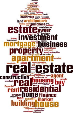 Real estate word cloud concept. Vector illustration