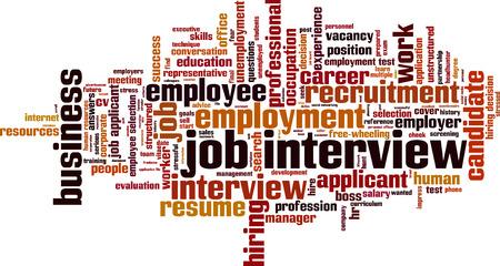 stressful: Job interview word cloud concept. Vector illustration Illustration