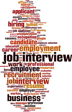 job interview: Job interview word cloud concept. Vector illustration Illustration