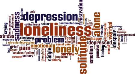abandonment: Loneliness word cloud concept. Vector illustration