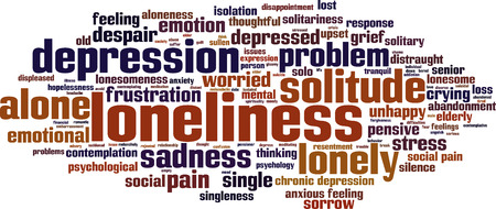 aloneness: Loneliness word cloud concept. Vector illustration