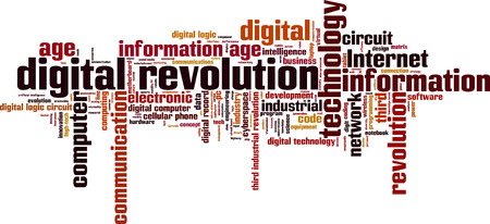 information age: Digital revolution word cloud concept. Vector illustration