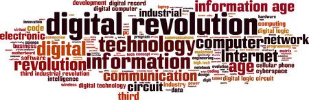 high society: Digital revolution word cloud concept. Vector illustration