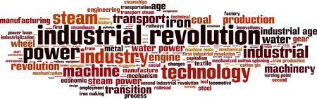 Revolución Industrial concepto de nube de palabras. Ilustración vectorial
