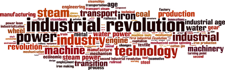 turning point: Industrial revolution word cloud concept. Vector illustration Illustration