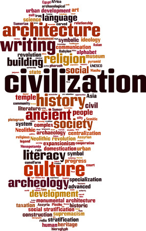 Civilization word cloud concept. Vector illustration Illustration