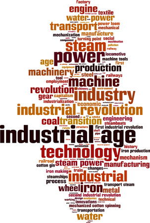 turning point: Industrial age word cloud concept. Vector illustration