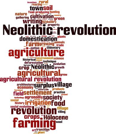 tillage: Neolithic revolution word cloud concept. Vector illustration