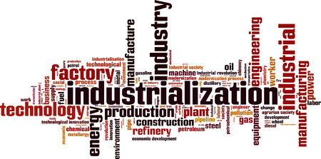 Industrialization word cloud concept. Vector illustration