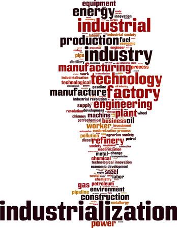 agrario: Palabra Industrializaci�n concepto de nube. Ilustraci�n vectorial Vectores