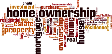 home ownership: Home ownership word cloud concept. Vector illustration