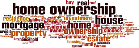 homeownership: Home ownership word cloud concept. Vector illustration