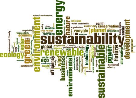 sostenibilidad: Palabra Sostenibilidad concepto de nube. Ilustración vectorial